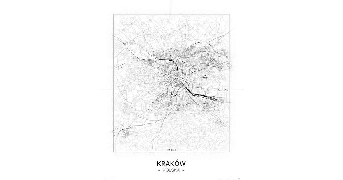 Kraków Czarno Biała Mapa