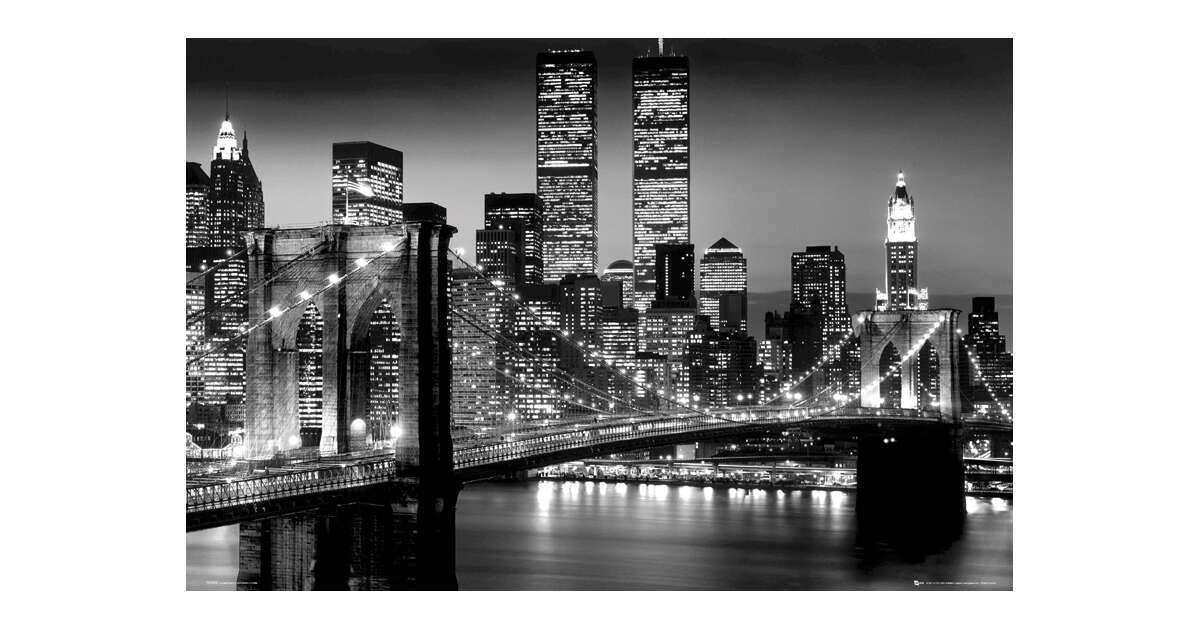 Nowy Jork Manhattan Nocą Plakat