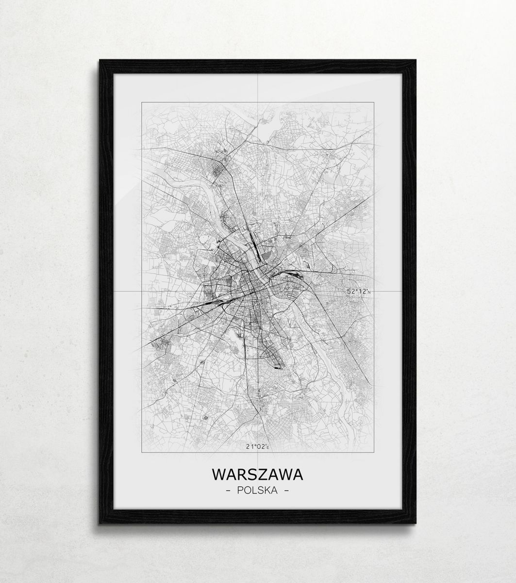 Warszawa Czarno Biała Mapa