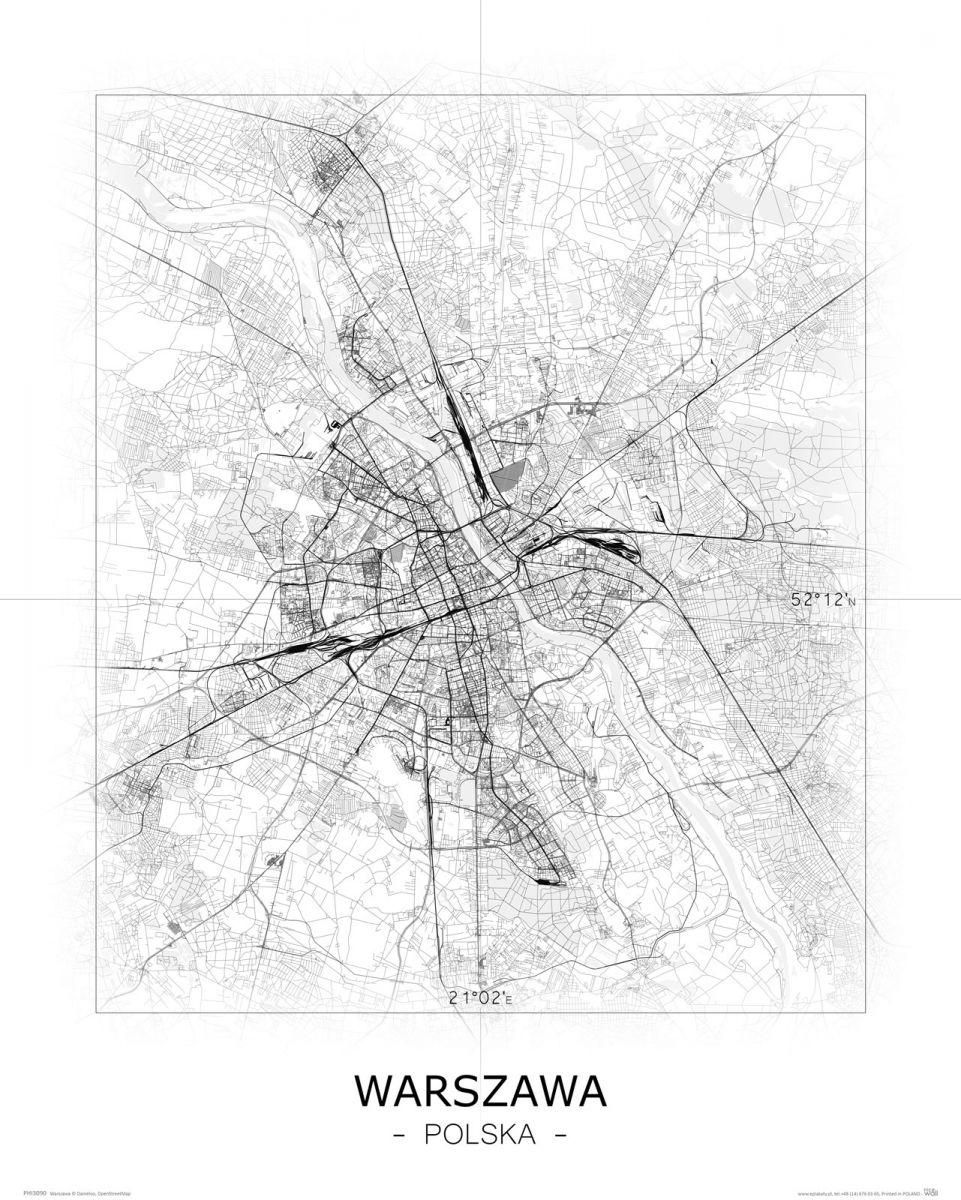 Warszawa Czarno Biala Mapa Galeria Plakatu