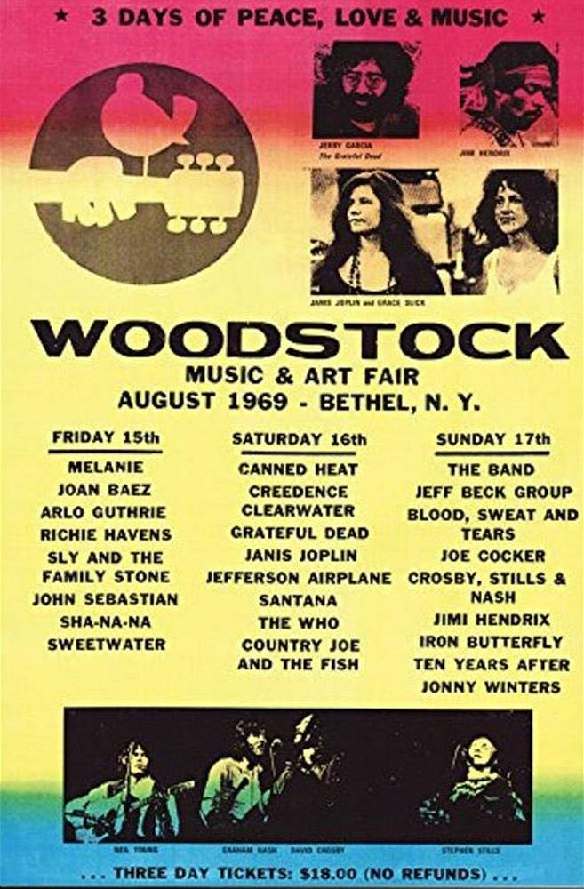 Woodstock Koncert Line Up Plakat