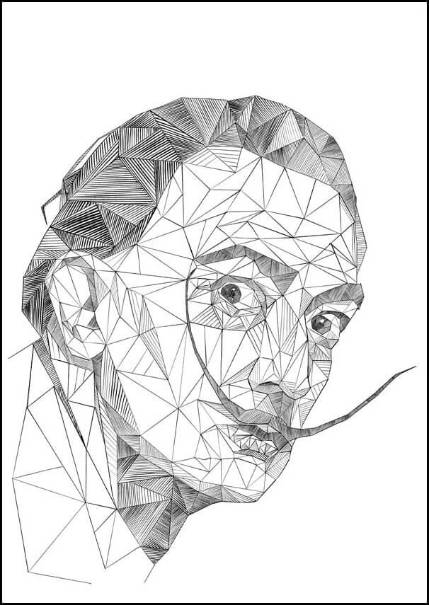 Geometryczny Salvador Dali Plakat