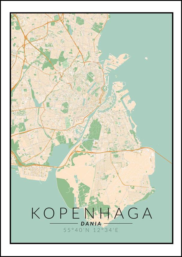 Kopenhaga Mapa Kolorowa Plakat Galeria Plakatu